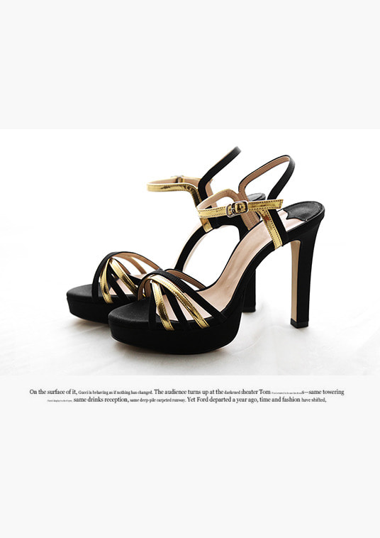 핫키스black gold line heel