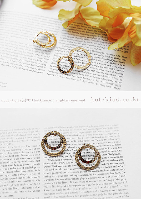 핫키스overlap circle earring